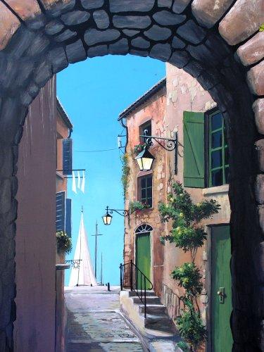 Il Est également Possible, Et Dans Beaucoup De Cas Plus Commode De Réaliser  La Peinture Sur Une Toile à Maroufler Directement Sur Le Mur.